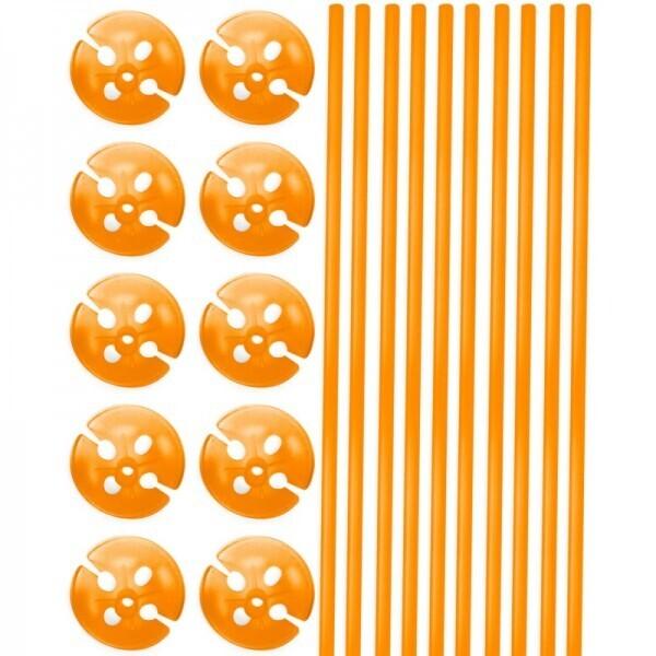 10 Ballonstäbe Orange mit Halter
