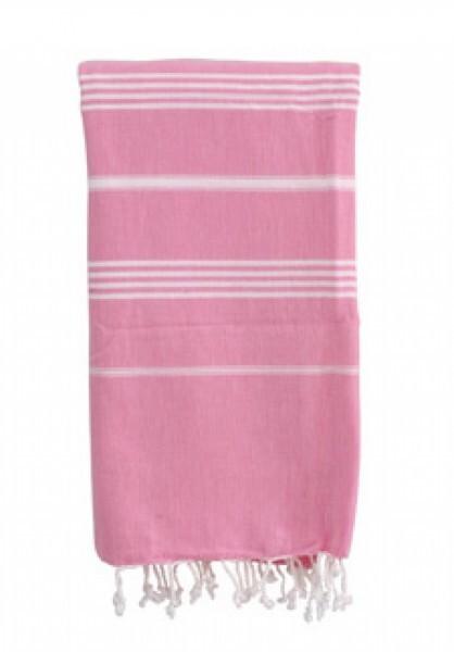 Strandtuch Basic pink/weiss