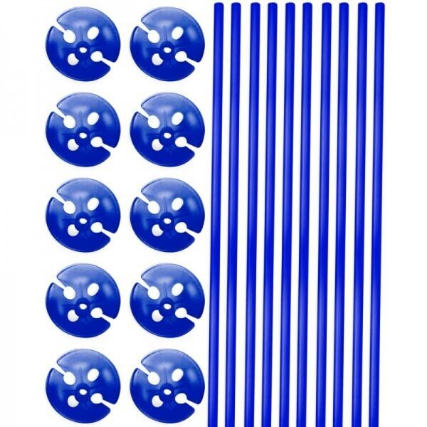 10 Ballonstäbe Blau mit Halter