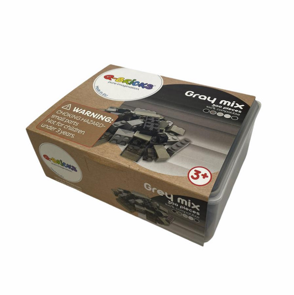Q-BRICKS - Bausteine Box 300 Graue Mischung