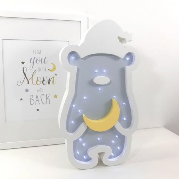 LED-Nachtlampe Zipfelmützen-Bär hellblau