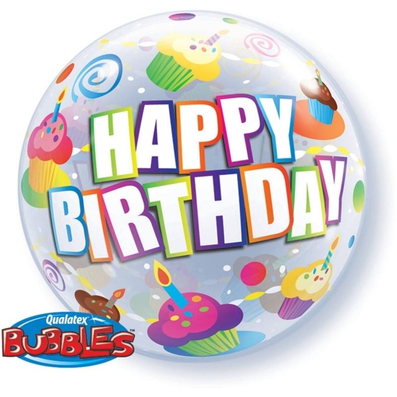 Geburtstag Cupcake Bubble Ballon gefüllt mit Helium