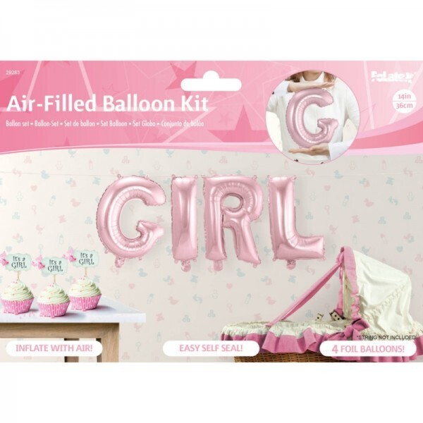 Folienballon-Set Girl Rosa