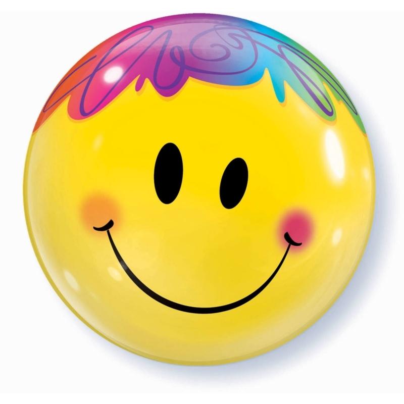 Smiley Bubble Ballon gefüllt mit Helium