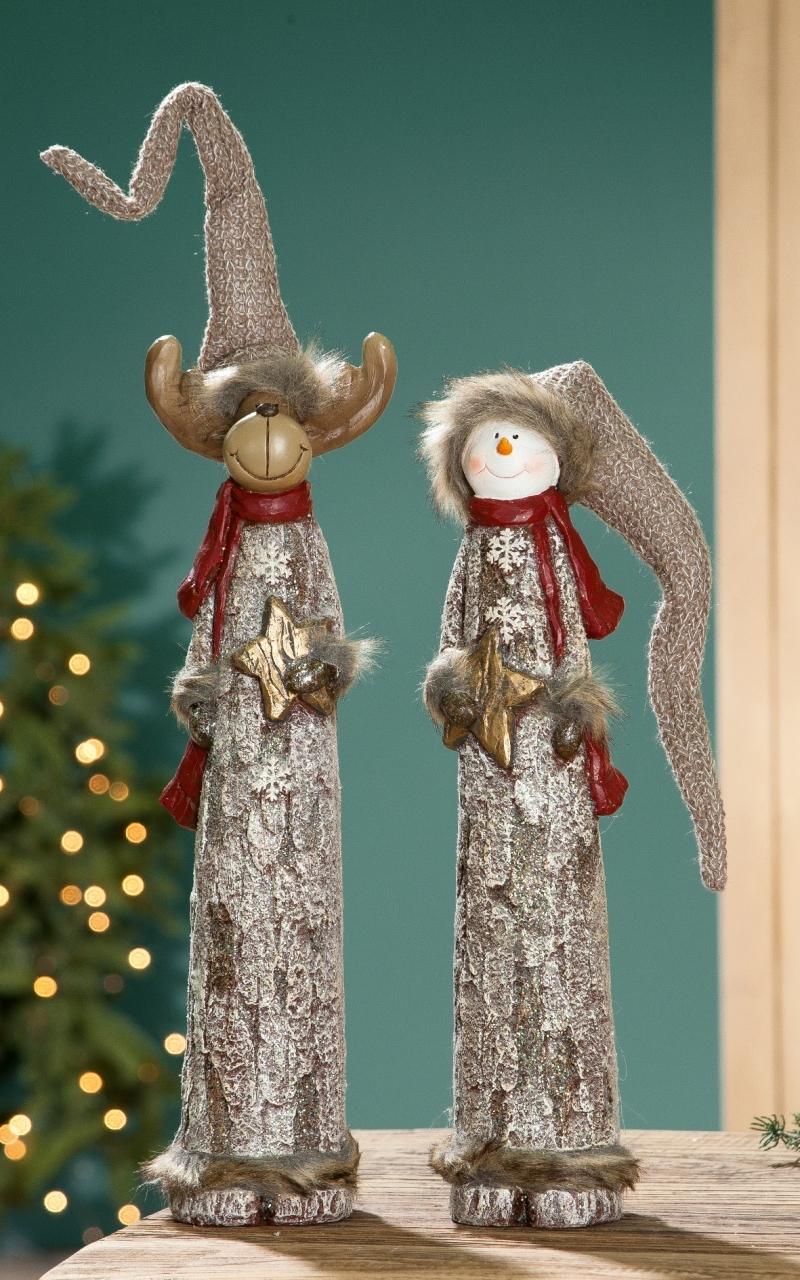 Schneemann & Rentier Weihnachtsfigur