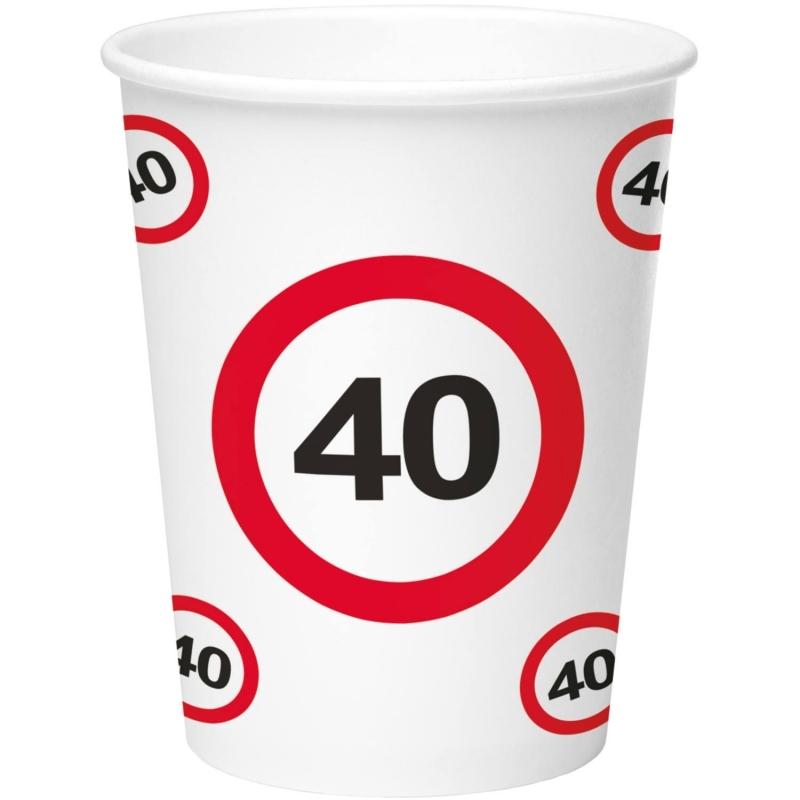 40. Geburtstag Verkehrsschild Becher
