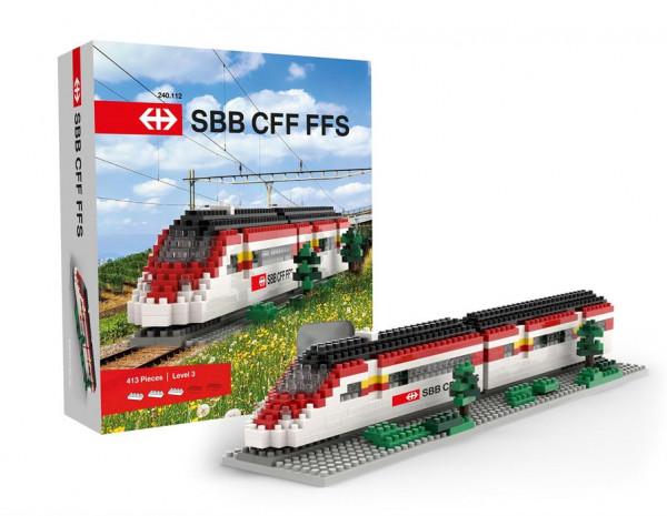 Brixies 240112 - SBB Zug aus Minibausteinen, Schwierigkeitsgrad Level 3