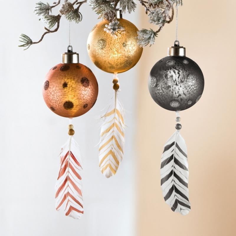 3- er Set Weihnachtkugel mit LED