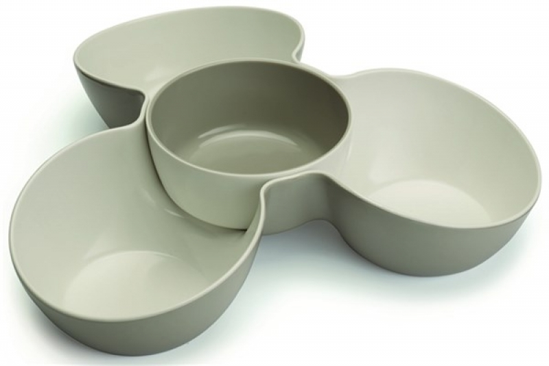 Snackschale Triple Dish grau/weiss