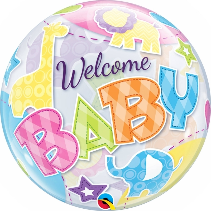 Willkommen Baby Bubble Ballon gefüllt mit Helium