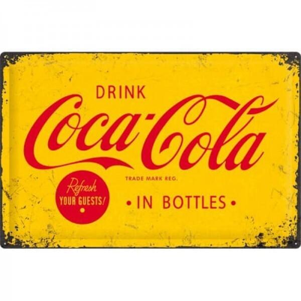 Blechschild Coca-Cola Yellow Logo