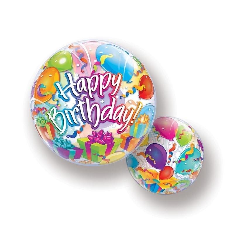 Birthday Surprise Bubble Ballon gefüllt mit Helium
