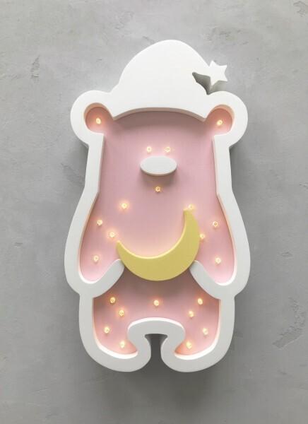 LED-Nachtlampe Zipfelmützen-Bär rosa