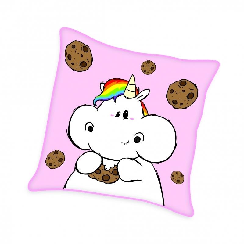 Pummeleinhorn Flauschkissen (mit Stick-Applikation) - Kekse (rosa)