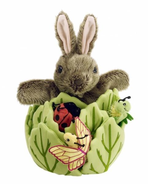 Fingerpuppen-Kaninchen im Salat mit 3 Insektenbaby's