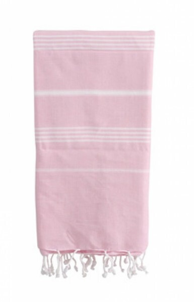 Strandtuch Basic rosa/weiss
