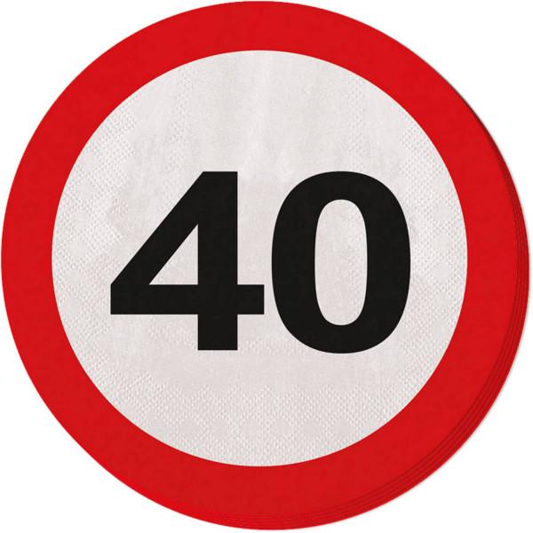 40. Geburtstag Verkehrsschild Servietten