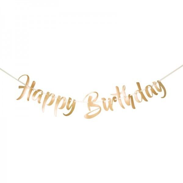Happy Birthday Girlande gold