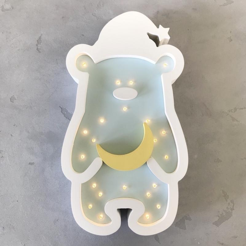 LED-Nachtlampe Zipfelmützen-Bär mintgrün