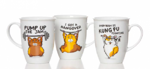 Tassen mit lustigen Hamster