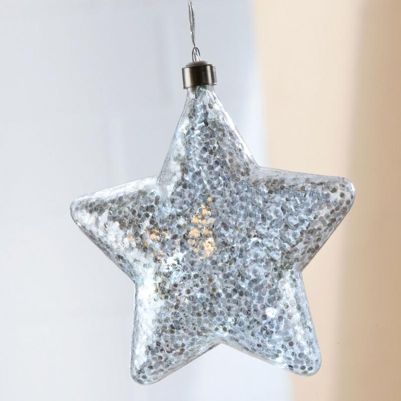 2-er Set Weihnachtsstern Glitter mit LED