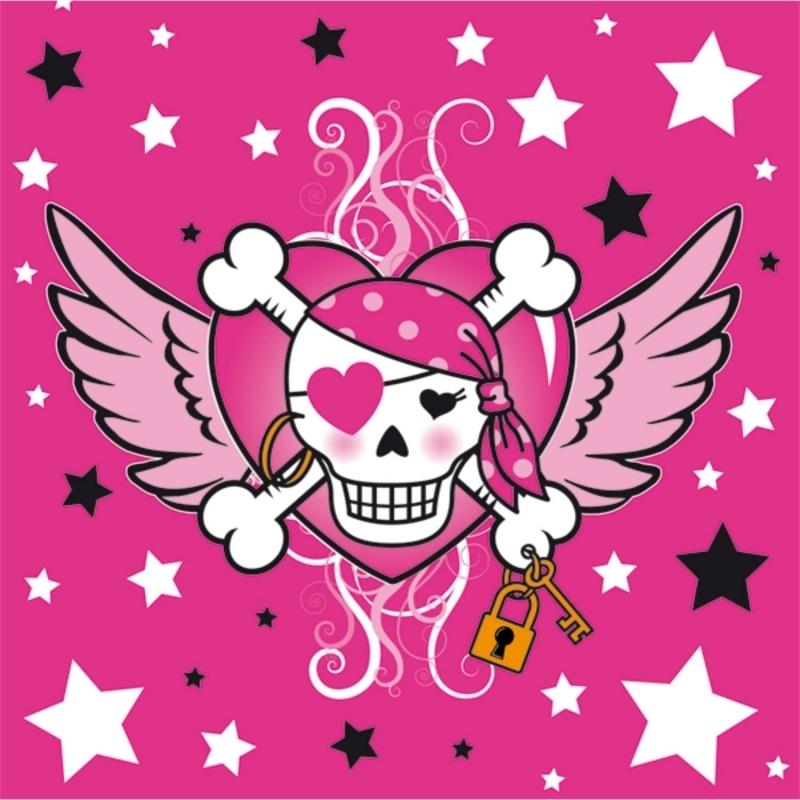 Pinkes Piratenmädchen Servietten