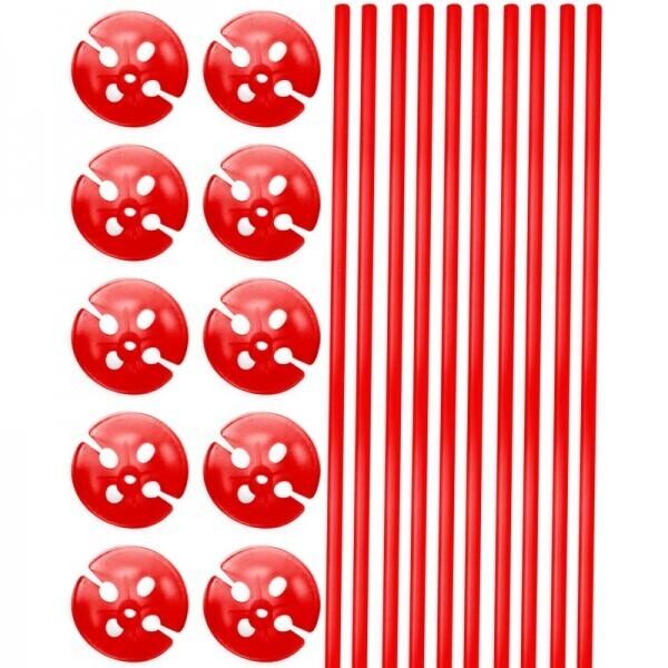 10 Ballonstäbe Rot mit Halter